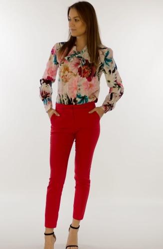 e2db7694ffdf10 Eleganckie spodnie damskie BB czerwone 7/8 - Isuka Pink