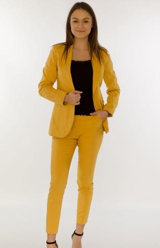 88c916a21ab560 Eleganckie spodnie damskie BB żółte 7/8 - Isuka Pink