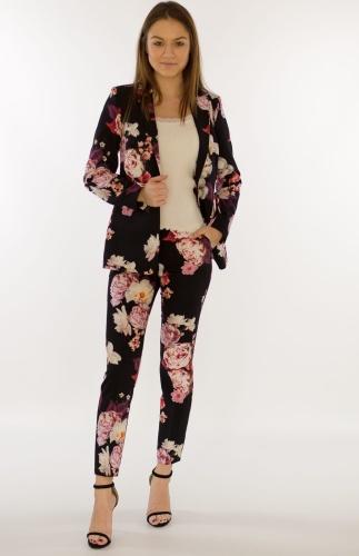 8907f644 Spodnie damskie BB czarne w kwiaty - Doreris