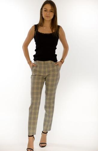 a8e424f4215952 Spodnie damskie BB szare w kratkę - Eiluka Pink