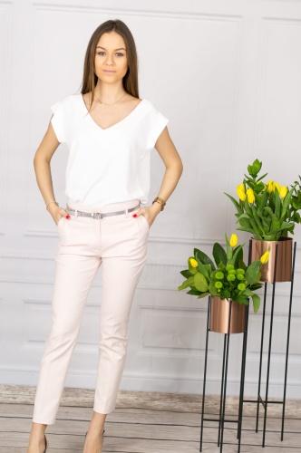 9c84fe1fc1a54d Eleganckie spodnie damskie BB pudrowy róż 7/8 - Ninodi Pink
