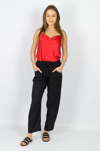 4bfa141cd8b8c9 Lniane spodnie damskie czarne - Merina Pink