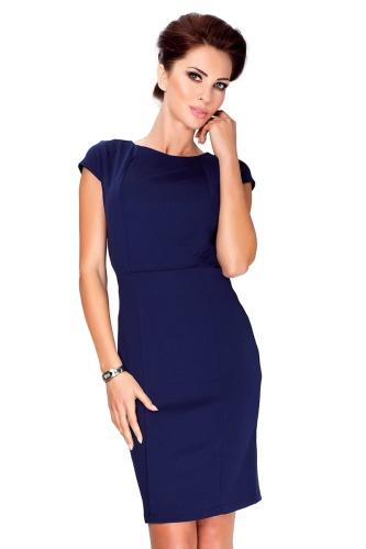 21fc9476 Elegancka sukienka z krótkim rękawkiem Numoco 37-2 - granatowa