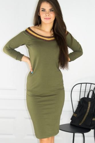 291d7a769c Bawełniana sukienka dekolt w serek khaki J182041 Pink