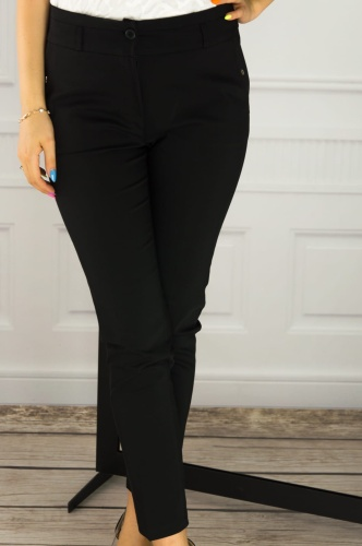 b9a1a5d2e5dbfe Eleganckie spodnie cygaretki 7/8 czarne J18 082 Pink