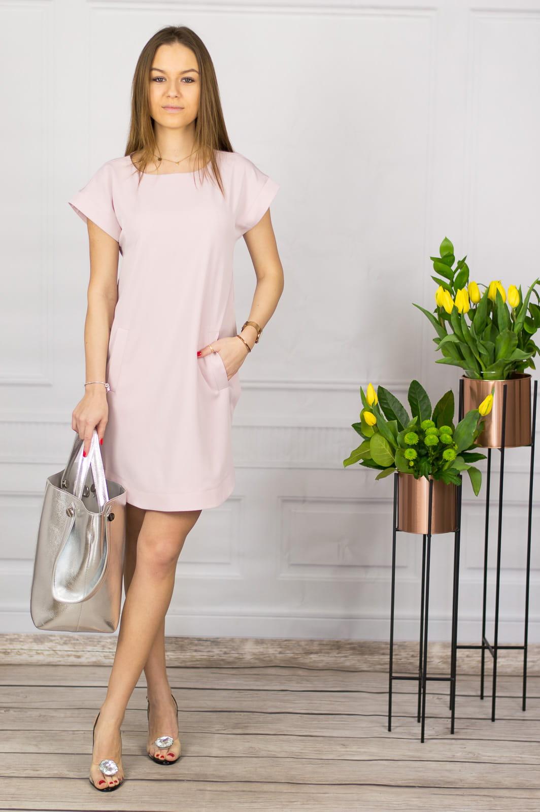 6600680be0 Sukienka z krótkim rękawem pudrowy róż - Thali Pink